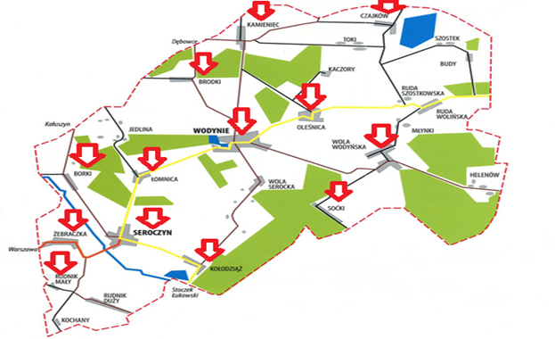 mapa gminy Wodynie